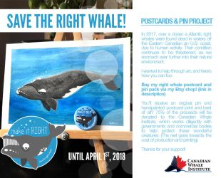 Save the Right Whale Charity Art Sale by lizleeillustration