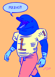 Dolphin dude wants pizza by HAYMAKERS
