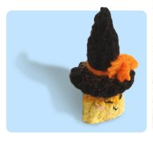 Tiny Candy Corn wearing Witch Hat by AmareeLis
