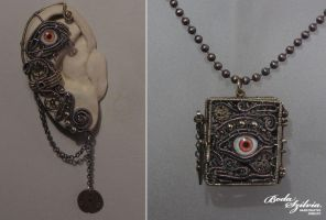 Watcher steampunk locket and ear wrap set by bodaszilvia