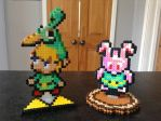 Custom Hama Stands: Minish Cap and Bunny Link by Dogtorwho