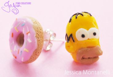 Homer and Donut - Earrings by Jeyam-PClay