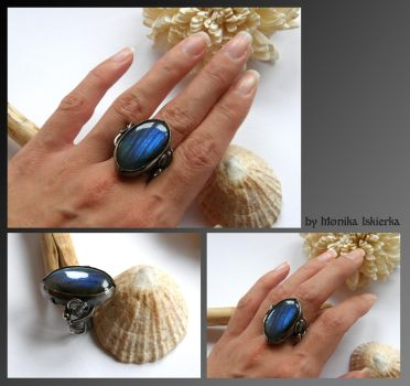 Labradorite wire wrapped silver ring by mea00