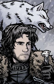 Jon Snow and Ghost by DeanGrayson