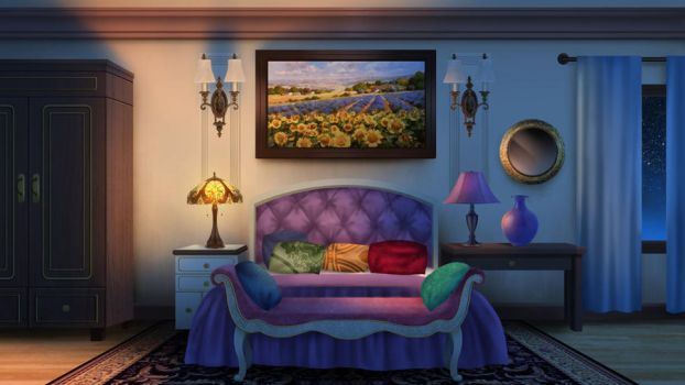 Guest Bedroom - visual novel BG by gin-1994
