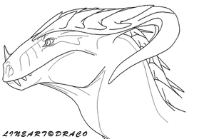 Dragon Head Lineart by DracoFeathers