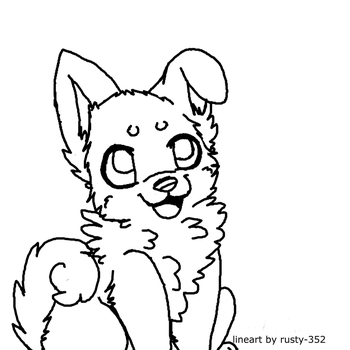 free puppy lineart~ by P0CKYY