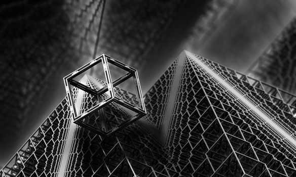 Cubic Frame on Koch Pyramids by fractal3D