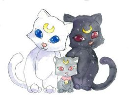 Sailor Moon Cat Family by Starrydance
