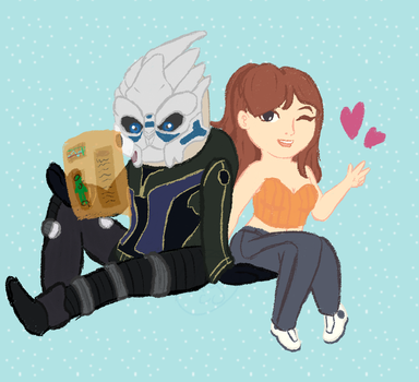Chalk/Sketchie Garrus and Paige by TheYUO