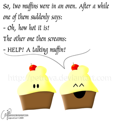2 muffins in an oven by petrova