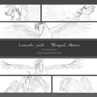 Linearts pack - Winged horses by JulieBales