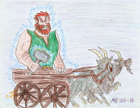 Thor in his chariot by Mara999