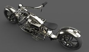 Motocicleta Chopper by juliopires3d