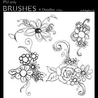 Photoshop Brushes - Doodle Flowers #1 by IsaaaHa