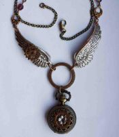 Winged pocket watch necklace by Pinkabsinthe