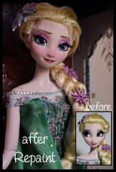repainted ooak limited edition frozen fever elsa. by verirrtesIrrlicht