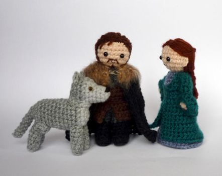 Robb, Cat and Grey Wind by LunasCrafts