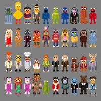 Sesame Street and Muppet Characters 8 bit by LustriousCharming