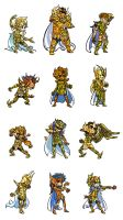 Gold Saints Fighting Stance wh by poipopoi