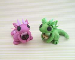 Magenta and Green Pearl Gem Dragons by KriannaCrafts