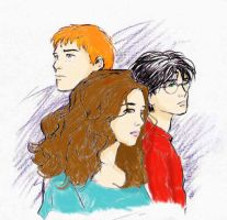 Harry Potter trio colored by ElvenWarrior14