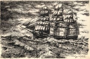 Sailing-vessel in the storm by pasavign