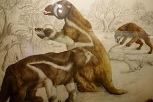 Two megatherium and a smilodon by Lynus-the-Porcupine