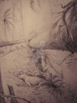 Diadectes resting, sketch by Lucas-Attwell