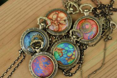 Colourful Steampunk Pendants by MiniMoo64