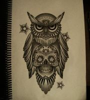 owl mexican skull by FraH