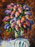 Blue And Red Flowers by Leonid Afremov by Leonidafremov