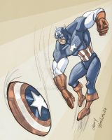 Captain America Throwing Shield Colored by Stnk13