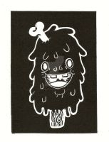 Lino-cut Meatsicle by xXxSkullsxXx