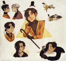 Bill Cipher Sketches by persian-pirate