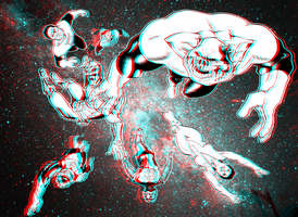 Nova and the Green Lantern Corps in 3D Anaglyph by xmancyclops