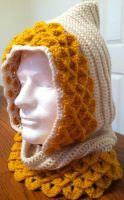 Dragon Scale Crocheted Hood by Arexandria