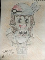 Kirsten and Eevee (Pokemon: Let's Go Eevee) by PikaChewyChipsAhoy