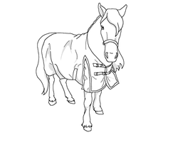 Lineart horse by Hot-Horse