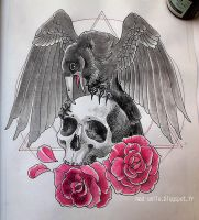 TATTOO - Skull, Crow and Roses by mad-smile