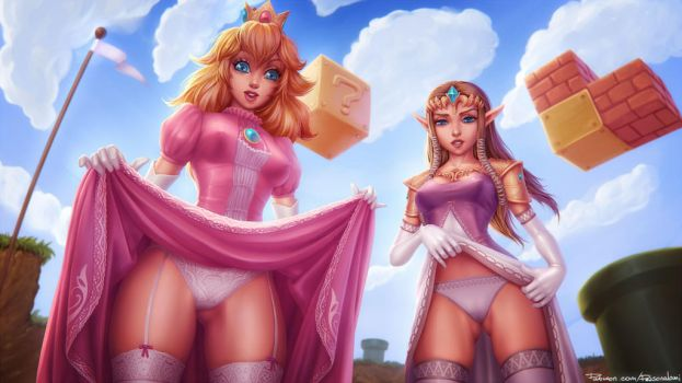 Peach and Zelda by PersonalAmi