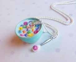 polymer clay bowl of froot loops cereal necklace by ScrumptiousDoodle