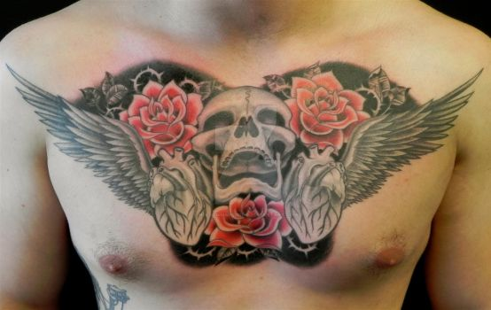 skull, roses and hearts by NelsonMandingo