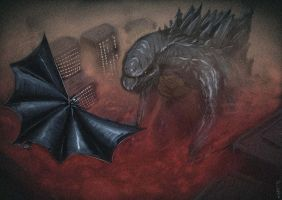 Batman and Godzilla by Algiark