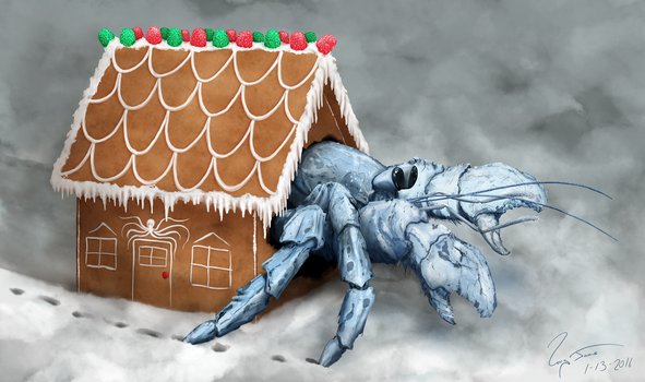 Hermit Crab in Gingerbread House by hwango