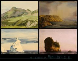 4 watercolors by vandervals