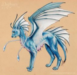 Blue Dragon Cat by starwoodarts
