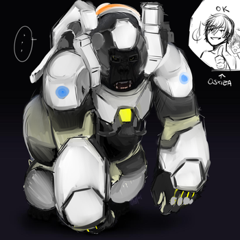 Planet of the apes + Overwatch Winston by XieSpace