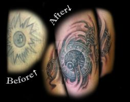 pocket watch cover-up tattoo