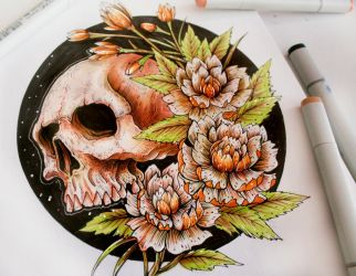 Skull and flowers Color Test by EG-TheFreak